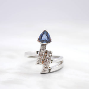 trillion cut sapphire with diamonds ring