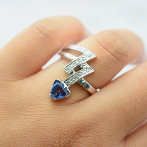 trillion cut blue sapphire arrow ring