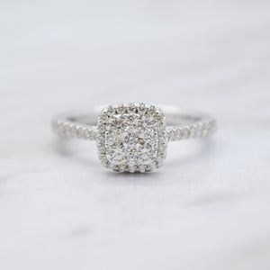cushion halo engagement ring white gold