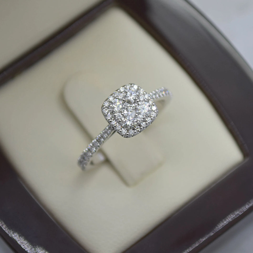 cushion halo cluster diamond engagement ring