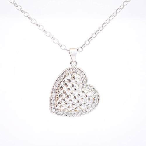 woven heart pendant in sterling silver