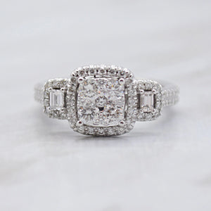 square cluster diamond engagement ring