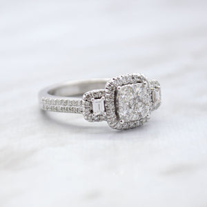 Diamond Square Cluster Engagement Ring