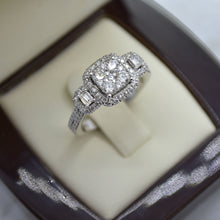 square halo cluster diamond engagement ring