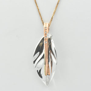 leaf diamond rose gold necklace - sutton smithworks