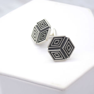 geometric pattern cufflinks
