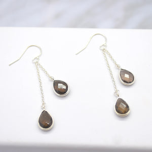 silver smoky quartz dangle earrings
