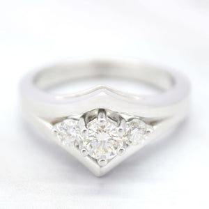 three diamond chevron bridal set