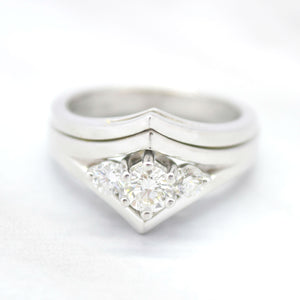 chevron style engagement ring with wedding band