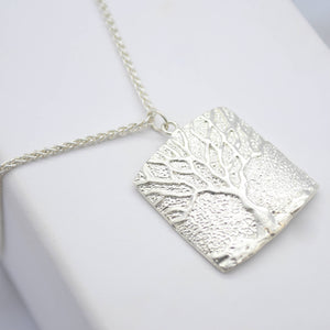 tree of life silver square necklace