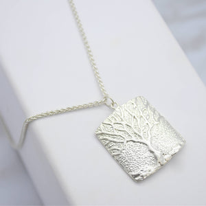 tree of life silver square pendant necklace