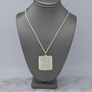silver tree square pendant necklace