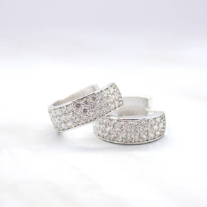 triple row cubic zirconia hoop earrings white gold