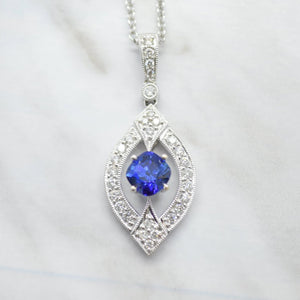 art deco inspired blue sapphire diamond necklace