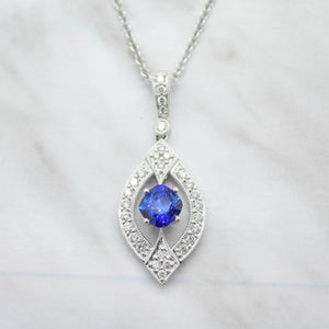 art deco blue sapphire diamond necklace
