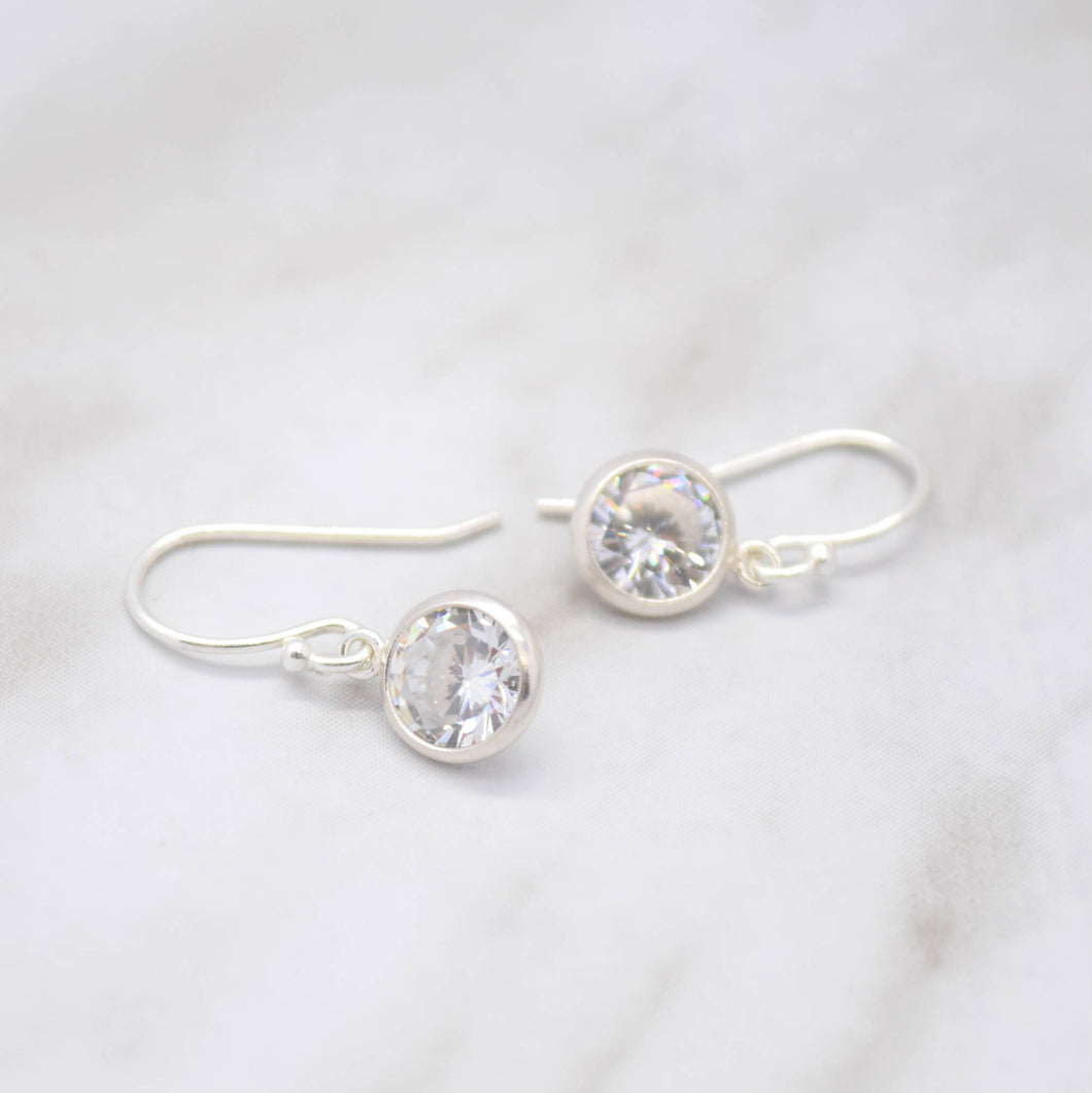 cubic zirconia hook bezel earrings