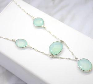 teal stone statement necklace