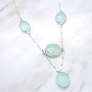 aqua chalcedony statement necklace