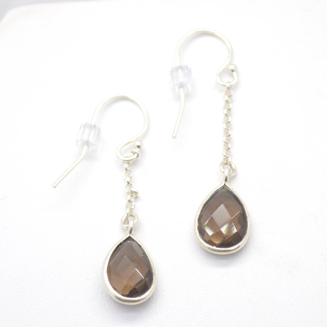 smoky quartz silver dangle earrings