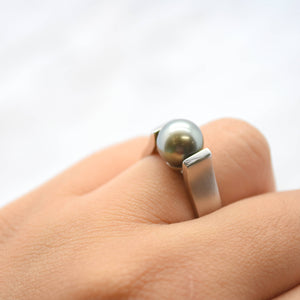 tahitian pearl tension set white gold ring