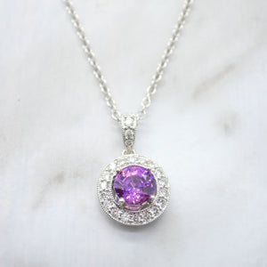 purple sapphire diamond halo necklace