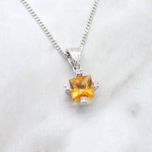 princess cut citrine diamond pendant