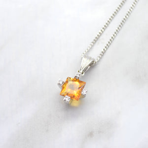 citrine diamond white gold necklace