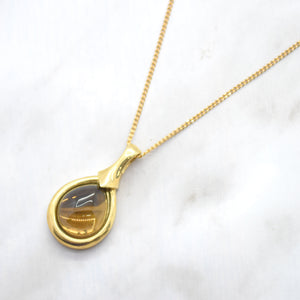 smoky topaz yellow gold pendant necklace