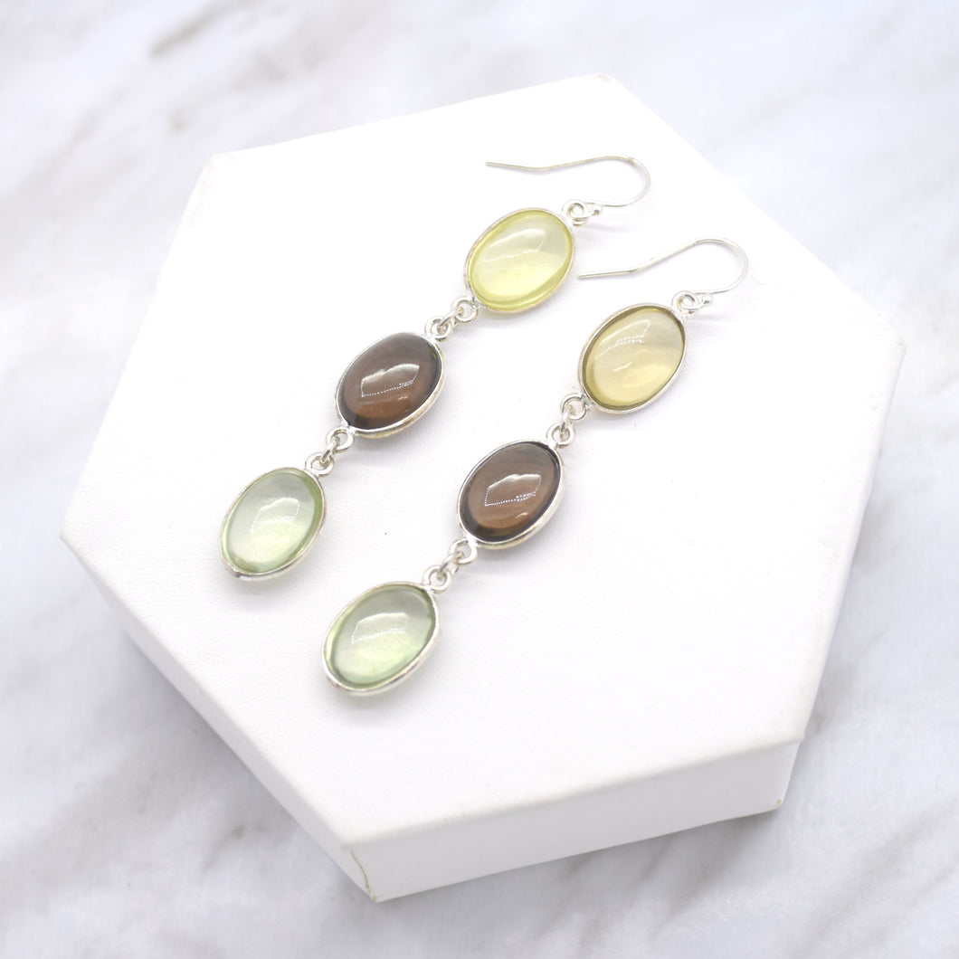 Three Stone Quartz Drop Earrings