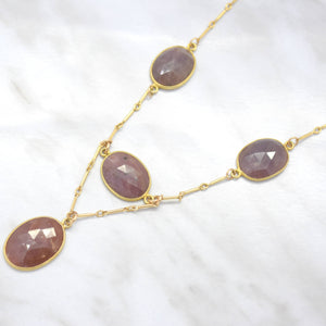 rose cut sapphire gold filled necklace