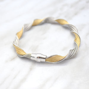 Silver and Yellow Gold Mesh Twist Bracelet