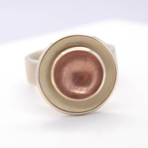 rose copper silver disc ring