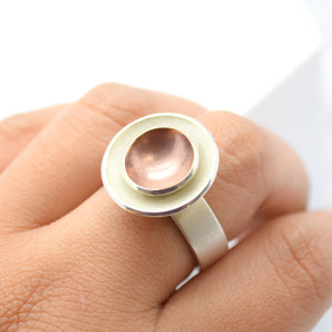 circle disc sterling silver ring