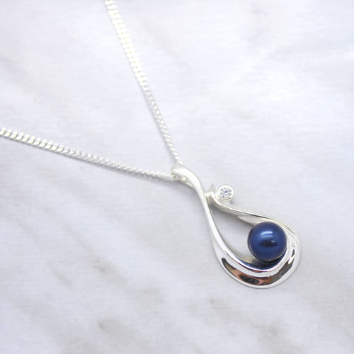 sterling silver blue pearl cubic zirconia necklace