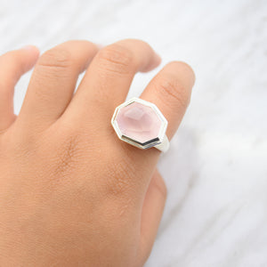 Octagonal Rose Quartz Ring