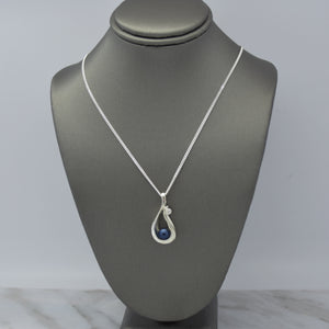 blue pearl silver necklace with cubic zirconia