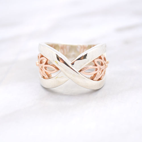 crossover leaf rose gold silver ring