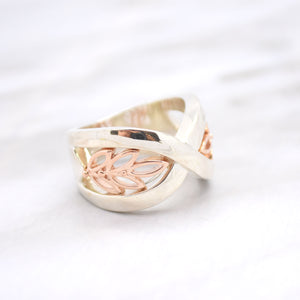 Crossover Leaf Rose-Tone Ring