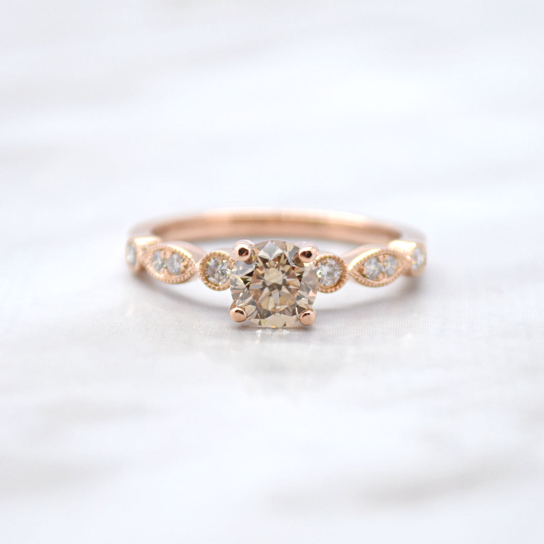 Cognac Diamond Rose Gold Engagement Ring