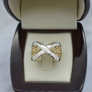 Crossover Leaf Gold-Tone Ring