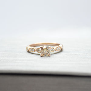 Diamond Engagement Ring with Milgrain Details (Custom order)