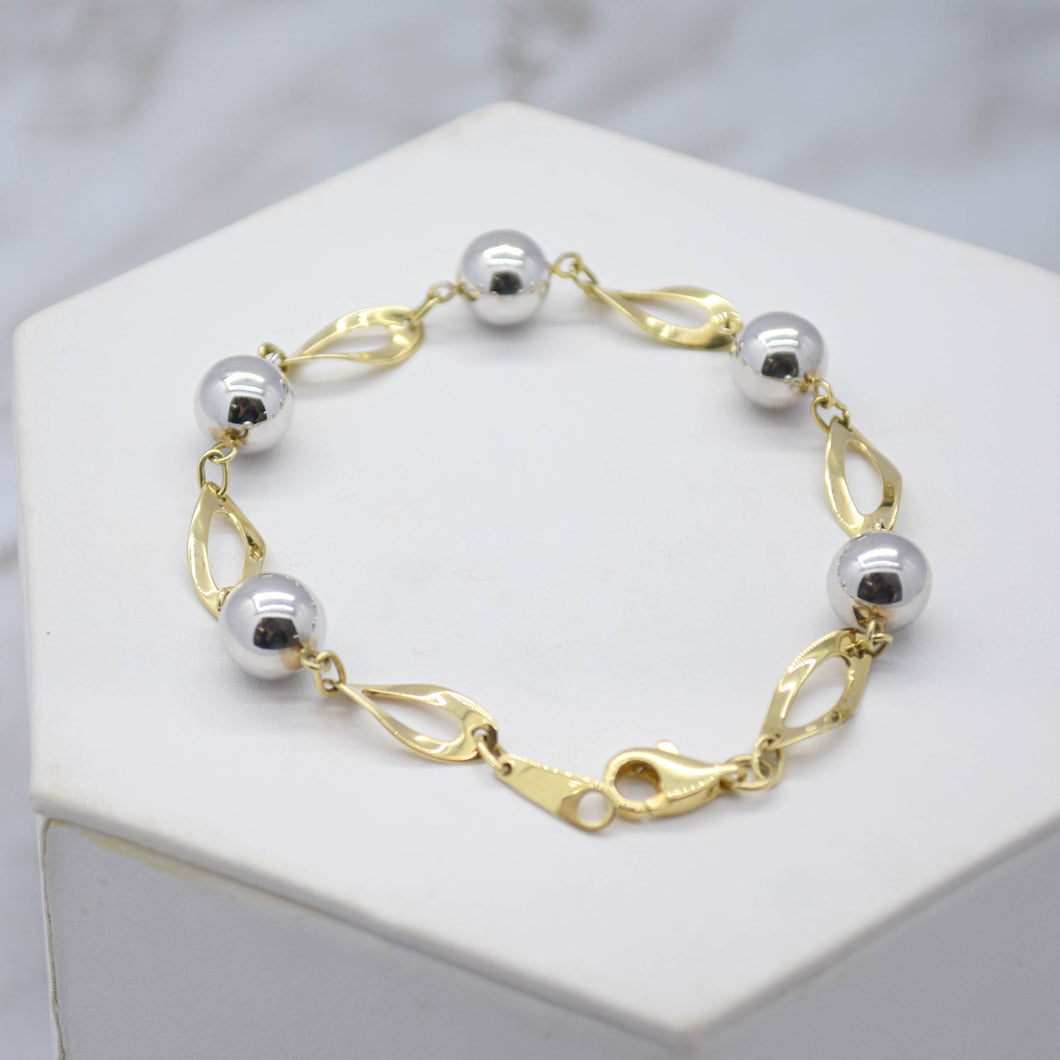 Marquise Twist & Bead Two-Tone Gold Bracelet