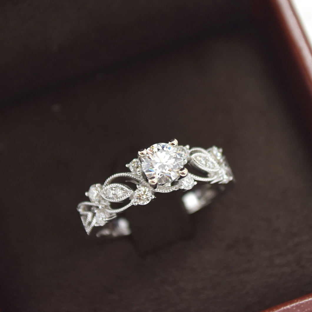 Milgrain Swirls Diamond Engagement Ring
