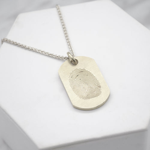fingerprint silver necklace