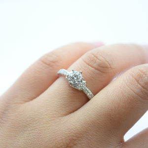 White Gold Engagement Ring with Diamond Clusters