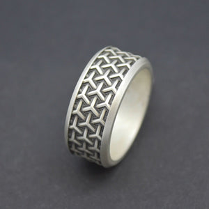 tesseract wedding band silver