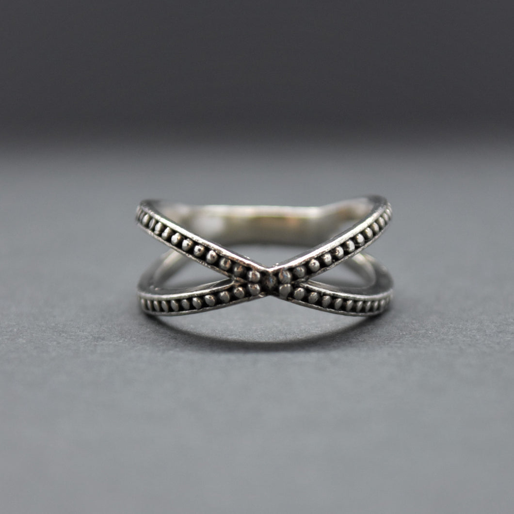 sterling silver cross ring beaded
