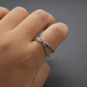 Beaded Criss Cross Ring