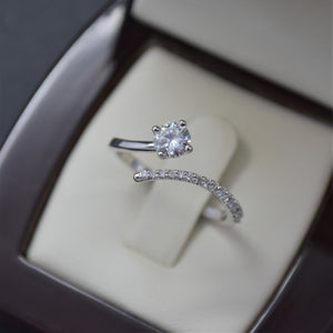 Moissanite & Diamond Bypass Ring