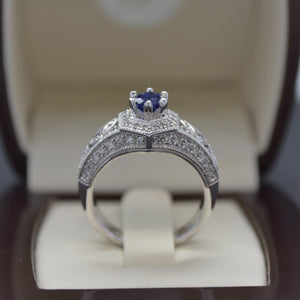 Antique Inspired Sapphire Engagement Ring